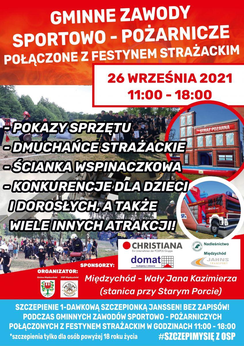 Plakat informujący o Gminnych Zawodach Sportowo-Pożarniczych połączonych z Festynem Strażackim, odbywającym się 26 września.